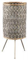 PTMD Windlicht 'Izem', Metaal, 53 x 28cm, kleur Grijs