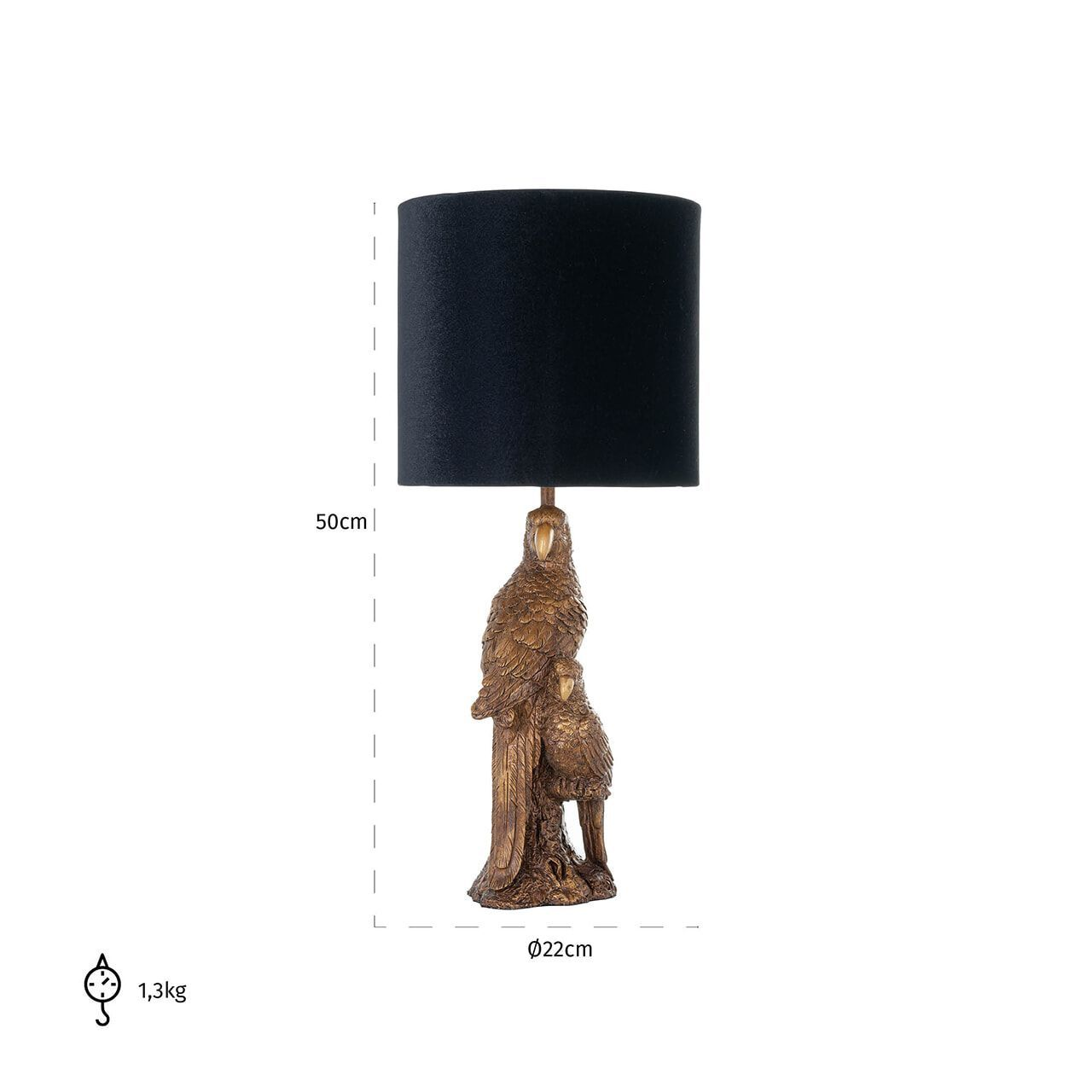 Richmond Tafellamp 'Andor', 50cm, kleur Zwart/Goud